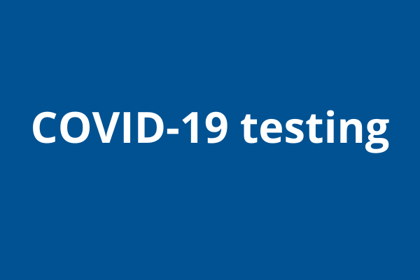 Blue box with white text: Covid-19 testing