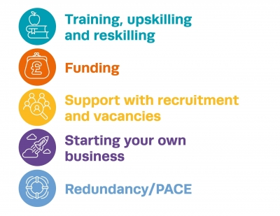 Colourful graphics listing available services: Training, upskilling and reskilling; Funding; Support with recruitment and vacancies; Starting your own business; Redundancy/PACE