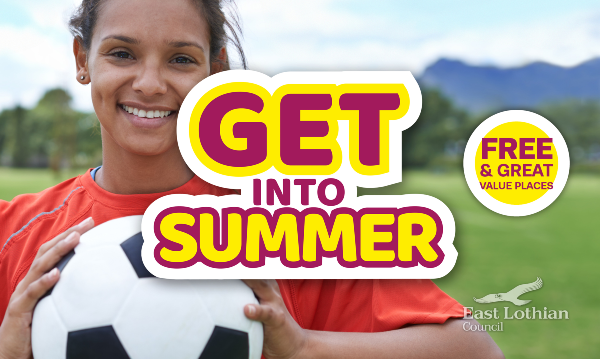 A teenage girl holds a football. Get into Summer Logo and free and low cost places sticker.