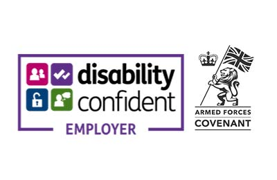 Logos for Disability Confident Employer and Armed Forces Covenant