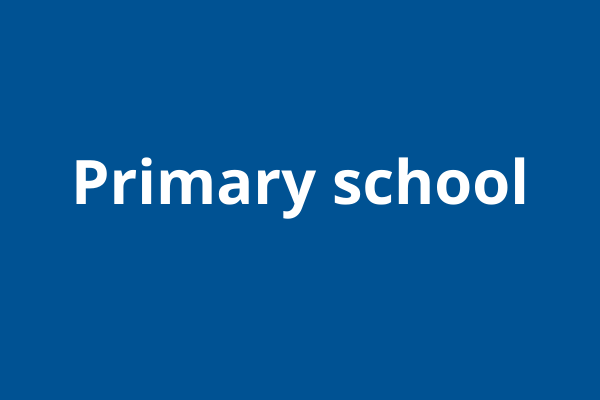 Blue block with white writing: primary school