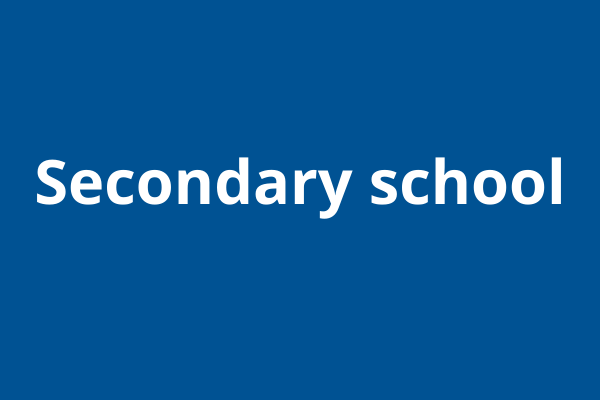 Blue block with white text: secondary school