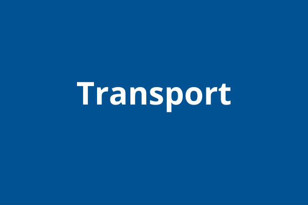 Blue block with white writing: transport