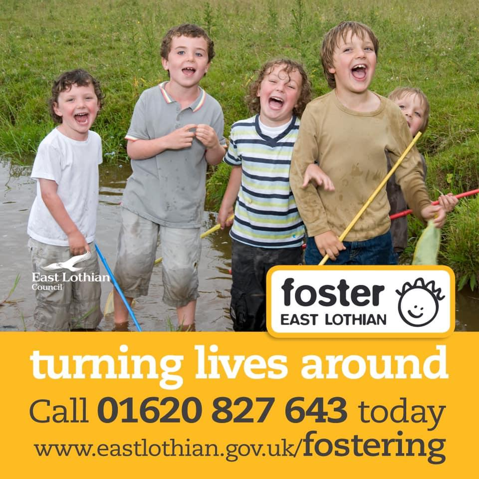 Foster east Lothian. Turning lives around Call 01620 827 643 today. Image shows a group of primary school age boys fishing together, standing in a small river and smiling broadly at the camera. www.eastlothian.gov.uk/fostering