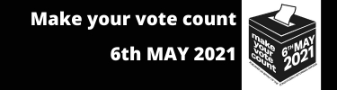 Make your vote count 6 May 2021 and an image of a ballot box.