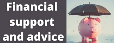 Financial support and advice. Picture shows a ceramic piggy bank with an umbrella in the rain.