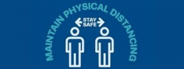 Maintain physical distancing, stay safe. A picture of two people with arrows showing a distance between them.